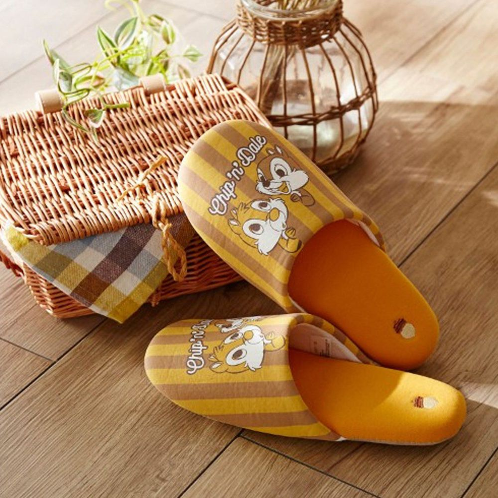 日本千趣會 - 迪士尼室內拖鞋-奇奇蒂蒂直條紋-咖啡黃