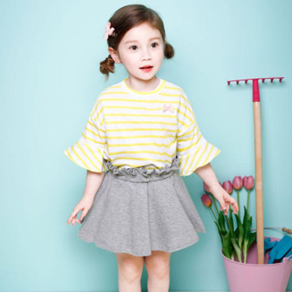 韓國 Jelispoon - 荷葉條紋上衣花苞裙套裝-黃X灰