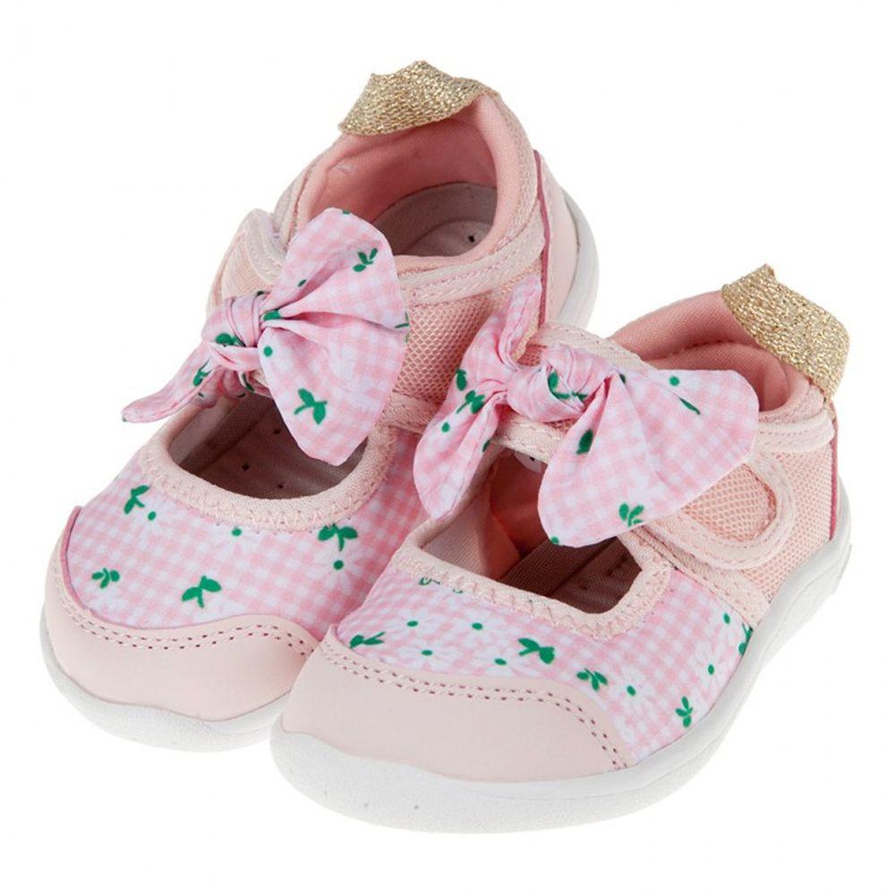 IFME - 格紋花朵粉色蝴蝶結公主機能水涼鞋