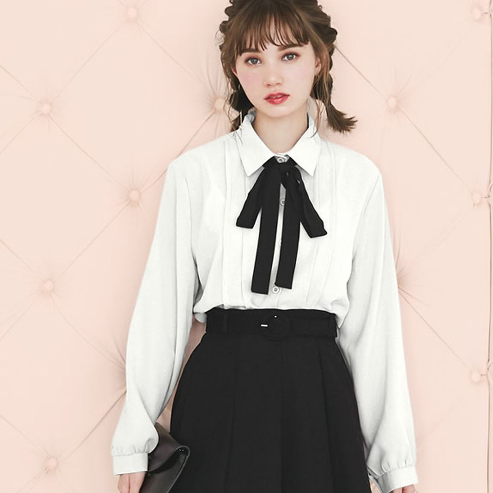 日本 GRL - 大黑蝴蝶結綁帶雪紡長袖襯衫-白