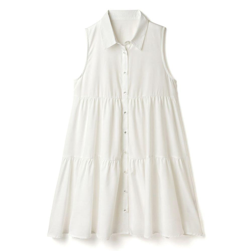 日本 GRL - 簡約蛋糕層次無袖洋裝-天使白