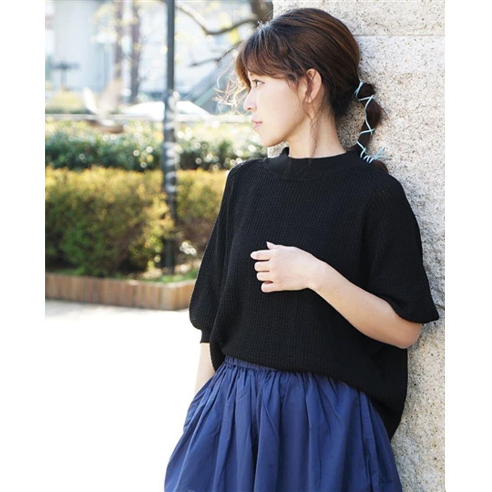 日本 zootie - 涼感防曬速乾 顯瘦五分袖上衣-黑 (F)