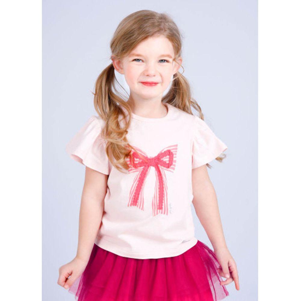 韓國 Jelispoon - 立體蕾絲蝴蝶結荷葉袖上衣-粉紅