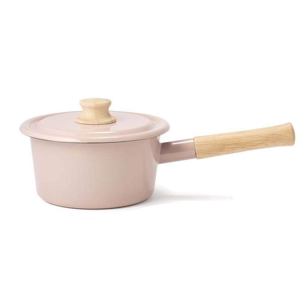 FUJIHORO 富士琺瑯 - 簡約系列-16cm單柄附蓋琺瑯調理鍋-莫蘭迪粉-容量:1.6L 重量:1.08kg