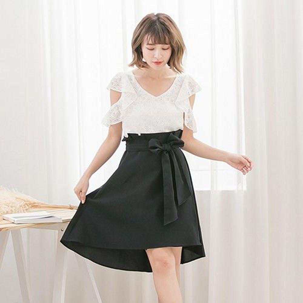 Marguerite - 芙蘿拉綁帶洋裝-黑白