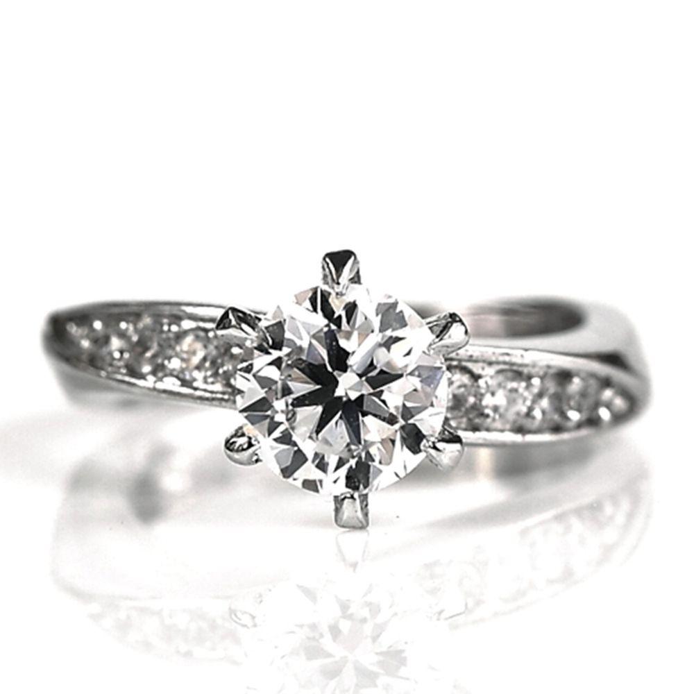 美國ILG鑽飾 - Hollywood 好萊塢經典 1克拉 -頂級美國ILG鑽飾,媲美真鑽亮度的鑽飾-加贈高級珠寶級絨布盒1個-外國抗敏材質電鍍頂級白K金色 (美圍4號)