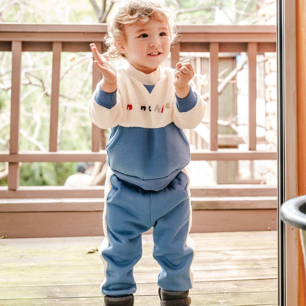 韓國 Bebezoo - 雙口袋搖粒絨套裝-藍