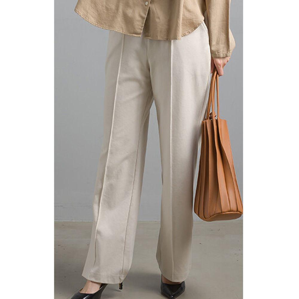 日本女裝代購 - 彈性寬管西裝褲-象牙白