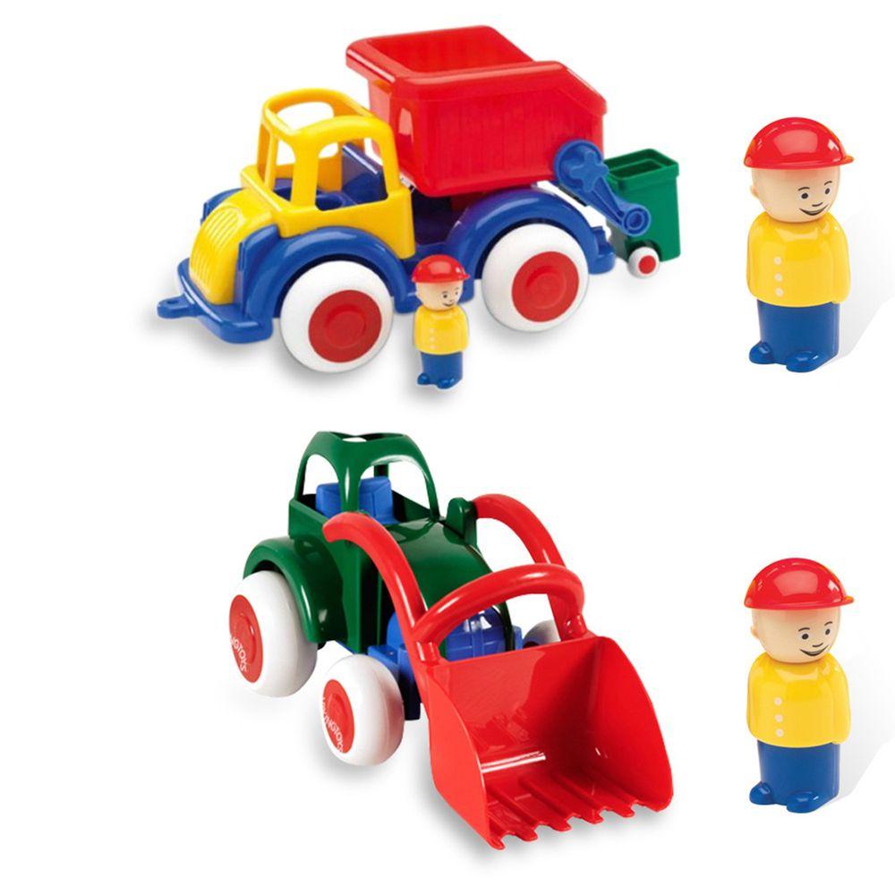 瑞典Viking toys - 【超值組】Jumbo28cm恰克回收車(含2隻人偶)+Jumbo28cm搬沙迪哥車(含1隻人偶)
