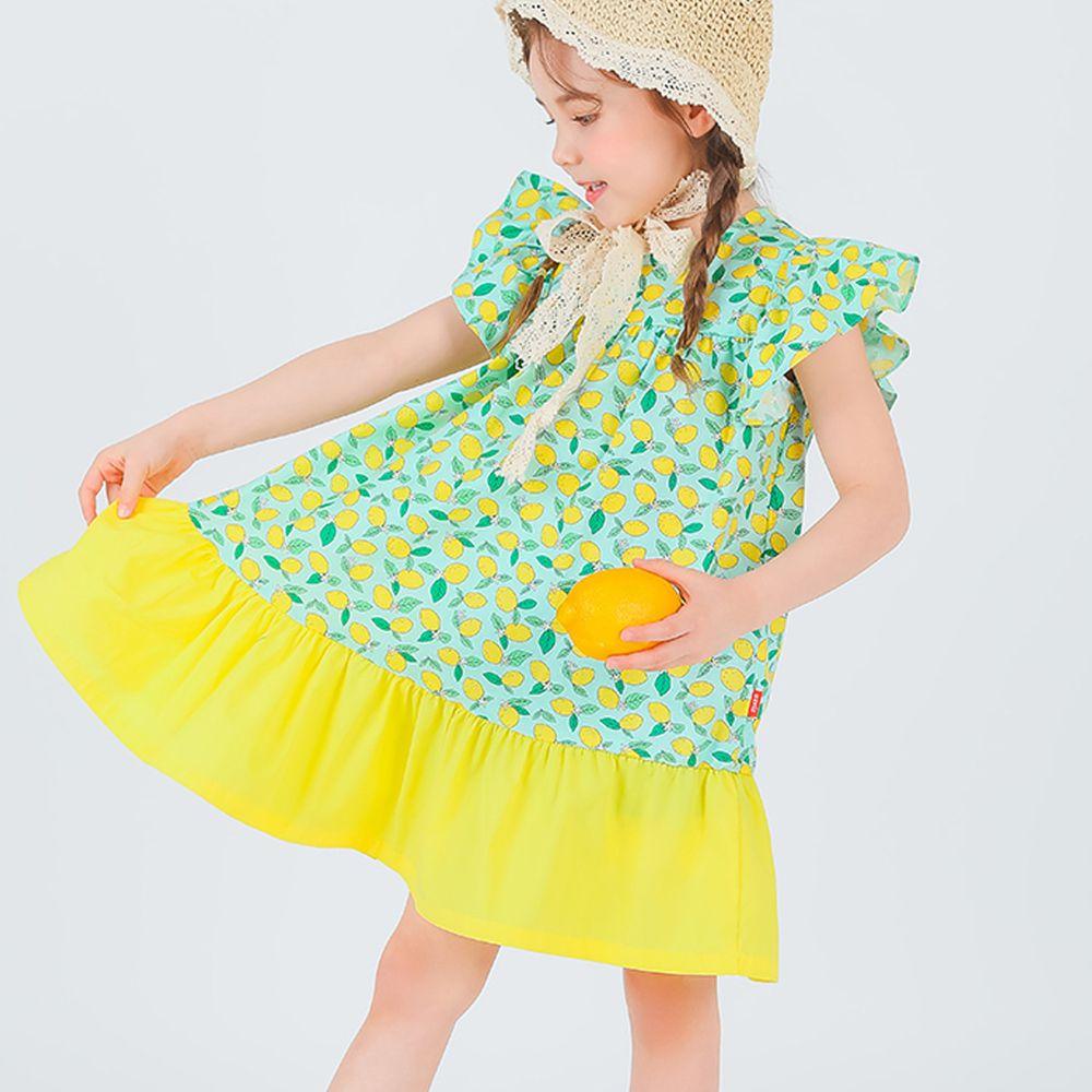 韓國 OZKIZ - 滿版檸檬立體袖洋裝-黃