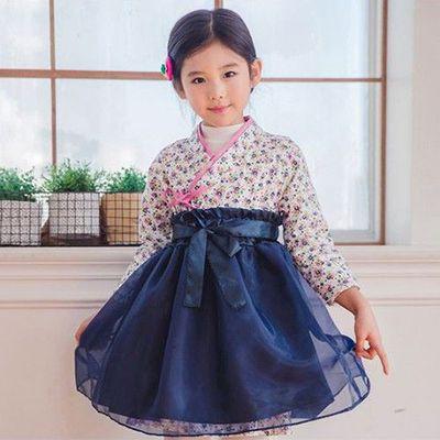 浪漫生活韓服(連身兩件式)-點點水仙-深藍