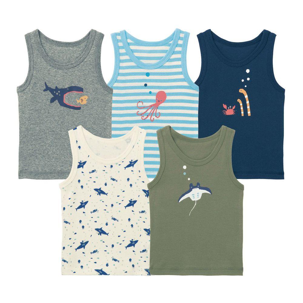 日本千趣會 - GITA 超值內衣/背心五件組 (無袖)-海底生物