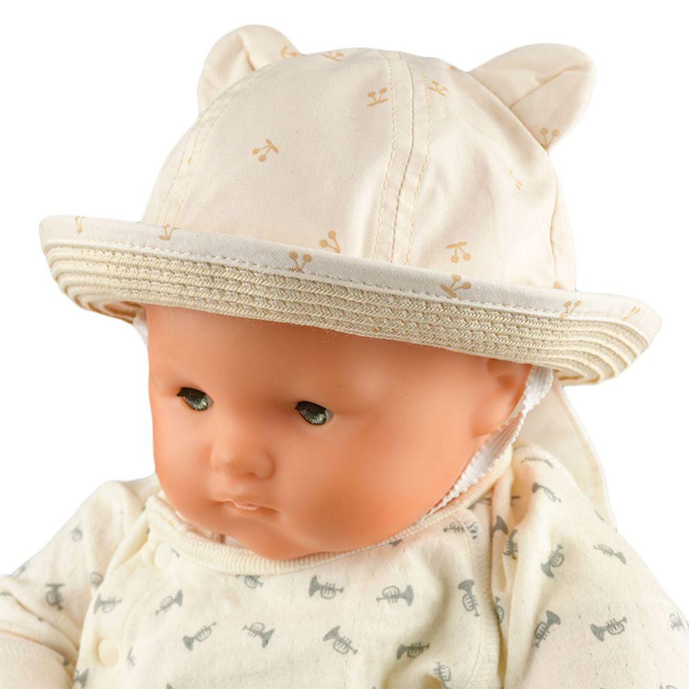 akachan honpo - 遮陽編織小耳朵反折帽-象牙白色