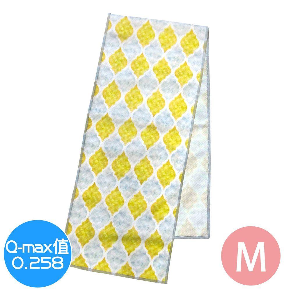 日本 DAIKAI - 抗UV接觸冷感 水涼感巾-菱格-黃 (M(80x15cm))