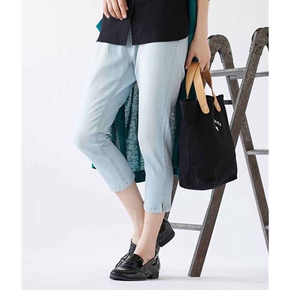 日本 zootie - Air Pants 輕薄彈性修身七分褲-丹寧刷白