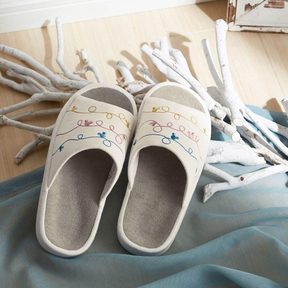 日本千趣會 - 迪士尼室內拖鞋(人體工學舒適)-彎曲線條米奇-象牙