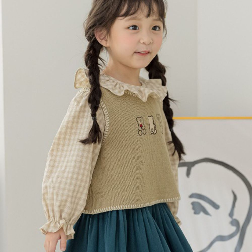 韓國 Orange Mom - 荷葉領格子泡泡袖上衣-淡綠