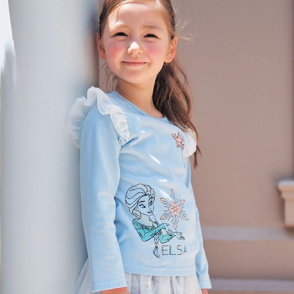 日本千趣會 - 迪士尼天竺棉蕾絲飛飛肩長T-艾莎-水藍