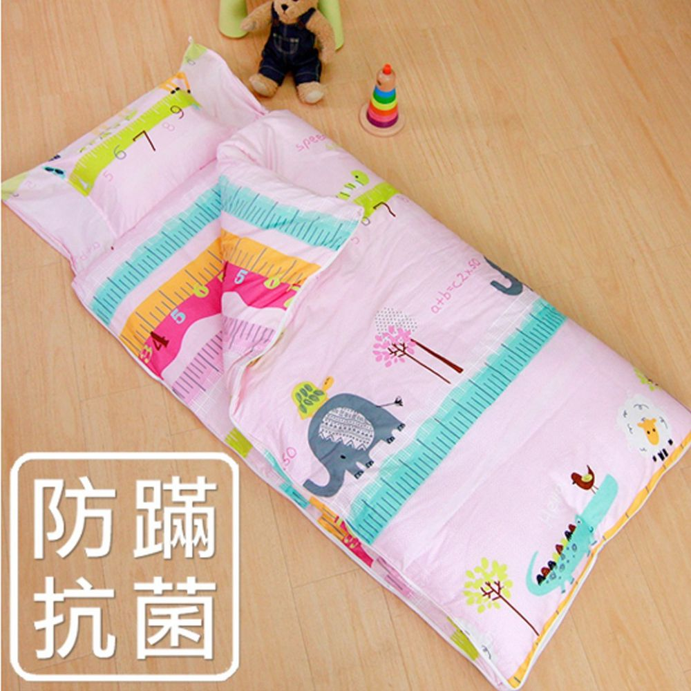 鴻宇HONGYEW - 防螨抗菌100%美國棉鋪棉兩用兒童睡袋-動物農場-2007粉