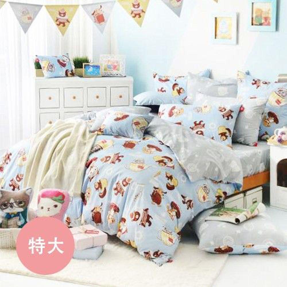義大利Fancy Belle X DreamfulCat - 純棉防蹣抗菌舖棉兩用被床包組-愛麗絲茶會-藍-特大