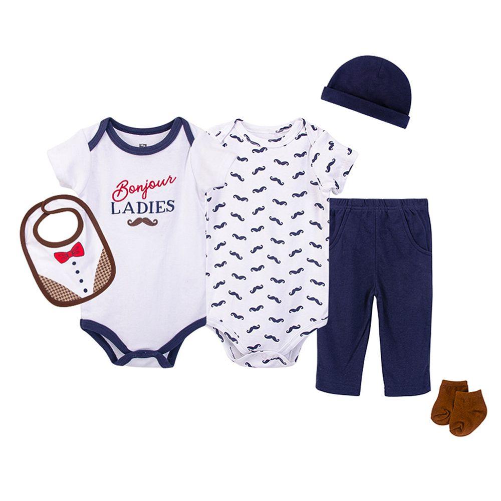 美國 Luvable Friends - 嬰幼兒包屁衣與長褲6件組-福爾摩斯