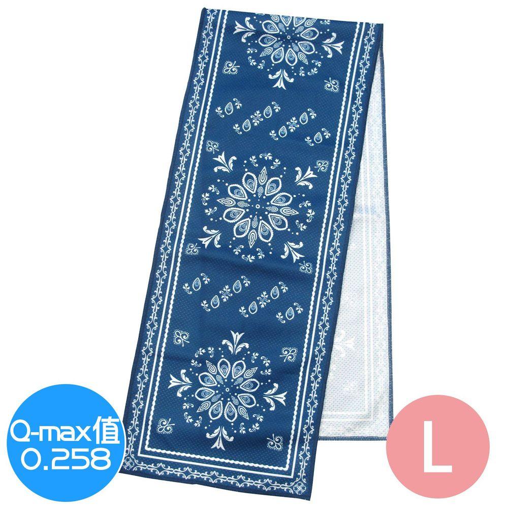 日本 DAIKAI - 抗UV接觸冷感 水涼感巾-圖騰-深藍 (L(100x20cm))