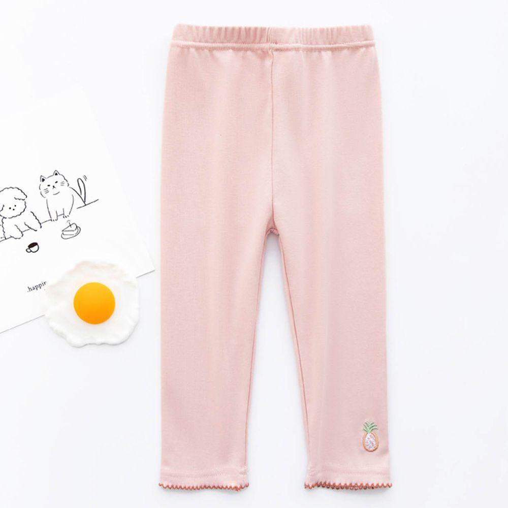 FANMOU - 七分內搭褲(棉質)-刺繡鳳梨-粉色