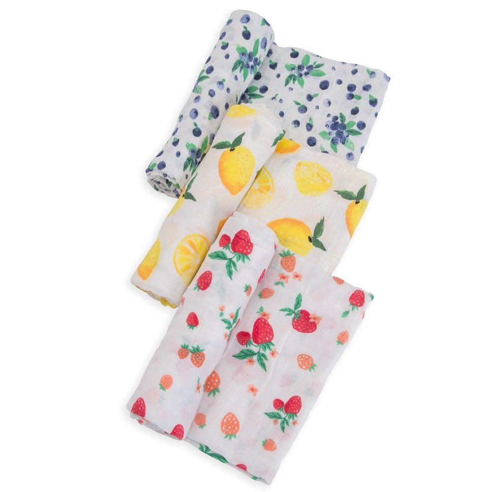 美國 Little Unicorn - 純棉紗布巾三入組-水果盤