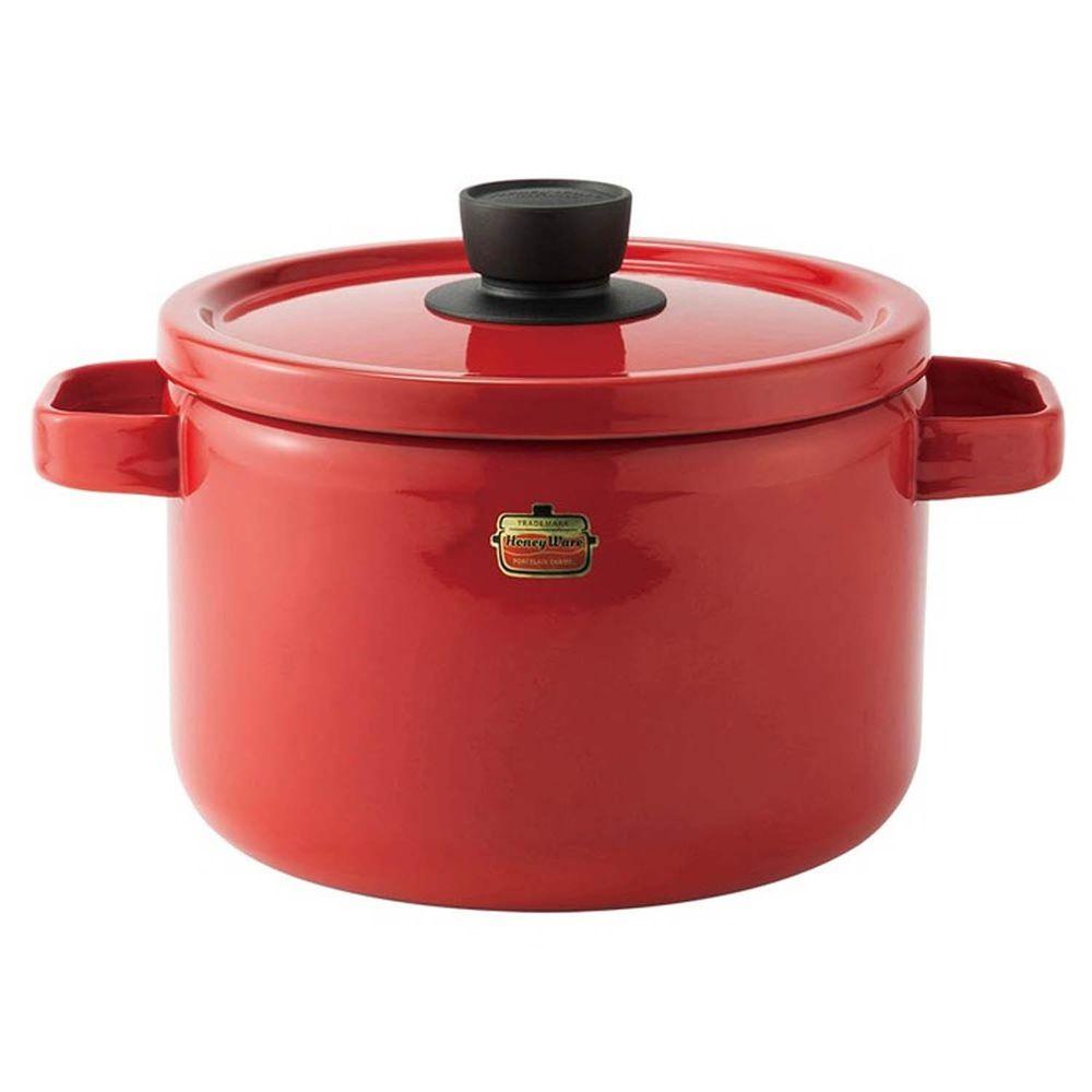 FUJIHORO 富士琺瑯 - Solid 經典系列-22cm雙耳附蓋琺瑯深鍋-熱情紅-容量:5.6L 重量:1.95kg