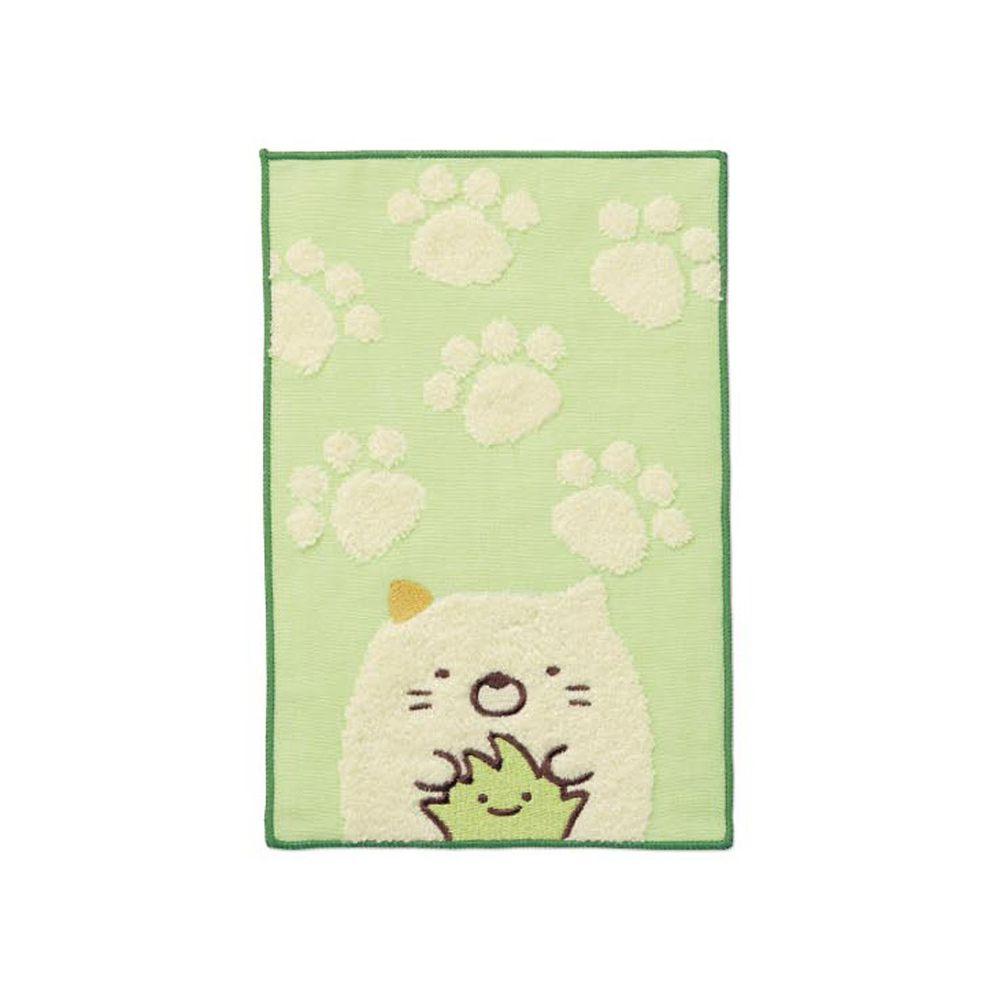 日本千趣會 - 角落生物 質感雙材質毛巾手帕-貓與雜草-綠 (15x24cm)