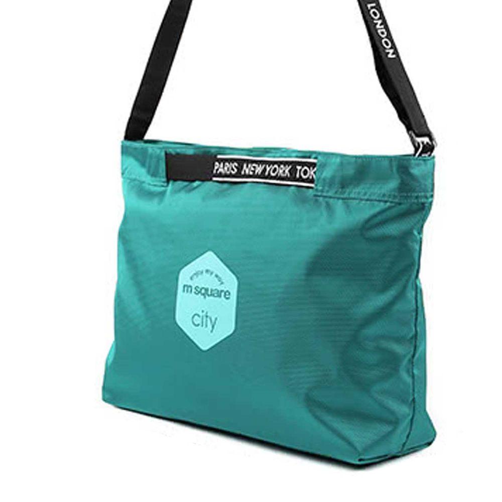 m square - 字母拉鏈折疊購物袋 M-湖水藍 (33.5*10*27cm)