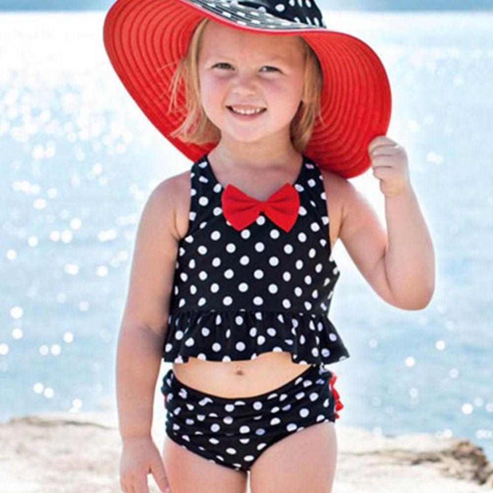 美國 RuffleButts - 小女童無袖比基尼泳裝-蝴蝶結白點荷葉