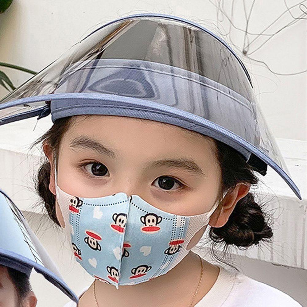 兒童可拆卸面罩防飛沫/遮陽防曬空頂帽-兩片式-紫色