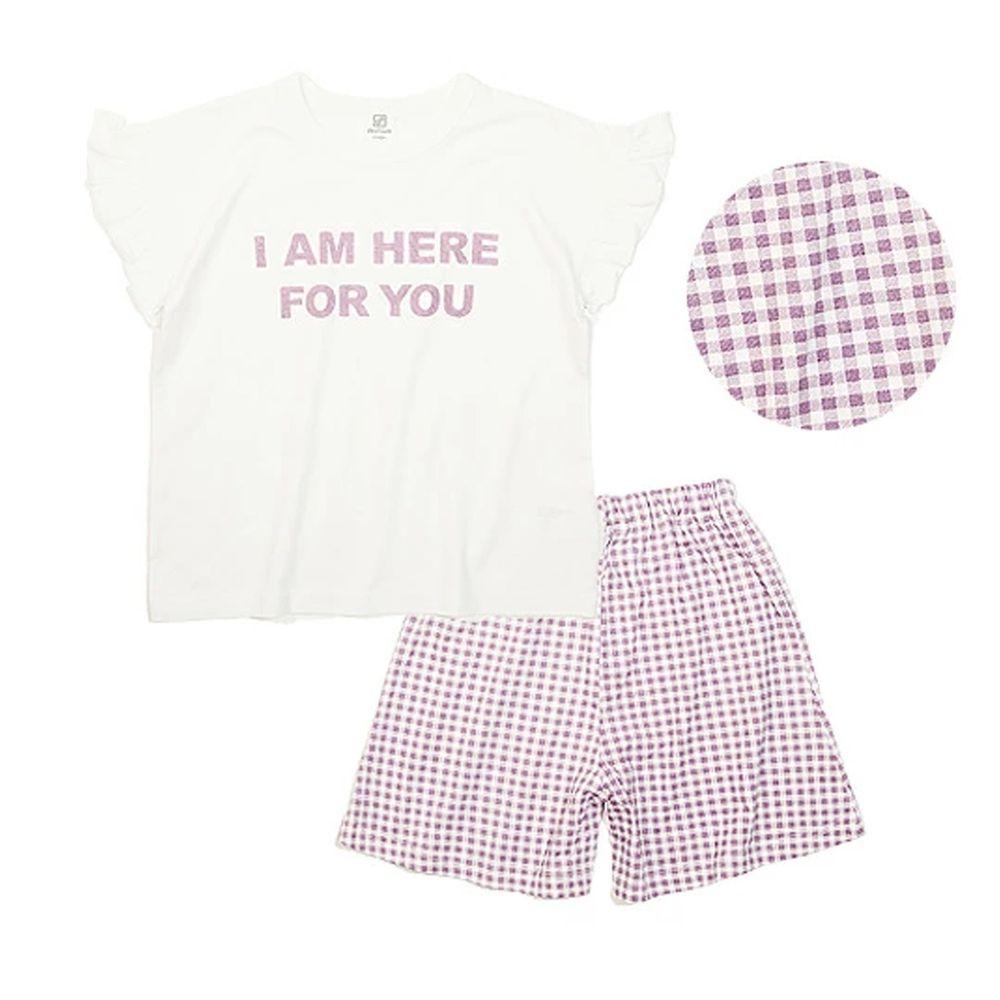 日本 devirock - 純棉短袖家居服-I AM HERE FOR YOU-白X紫