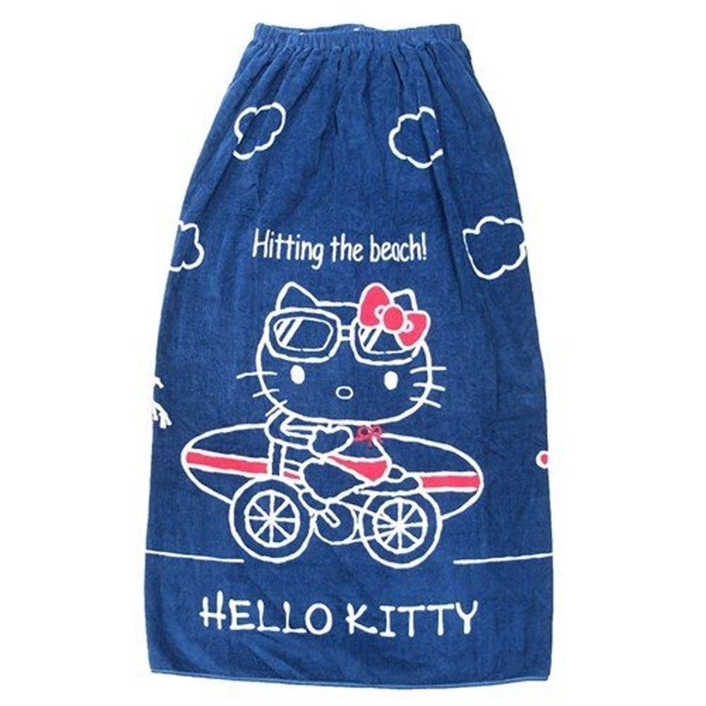 日本服飾代購 - 純棉海灘/游泳浴巾/浴袍 (附釦)-Hello Kitty-深藍 (長100cm(國小高年級~大人))