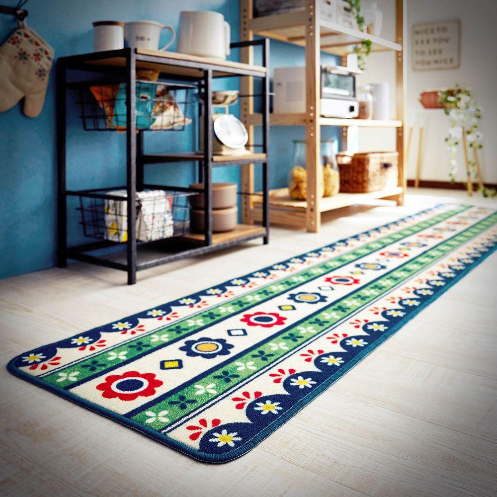 日本千趣會 - 質感長條型腳踏墊(廚房/臥室)-北歐花圖騰