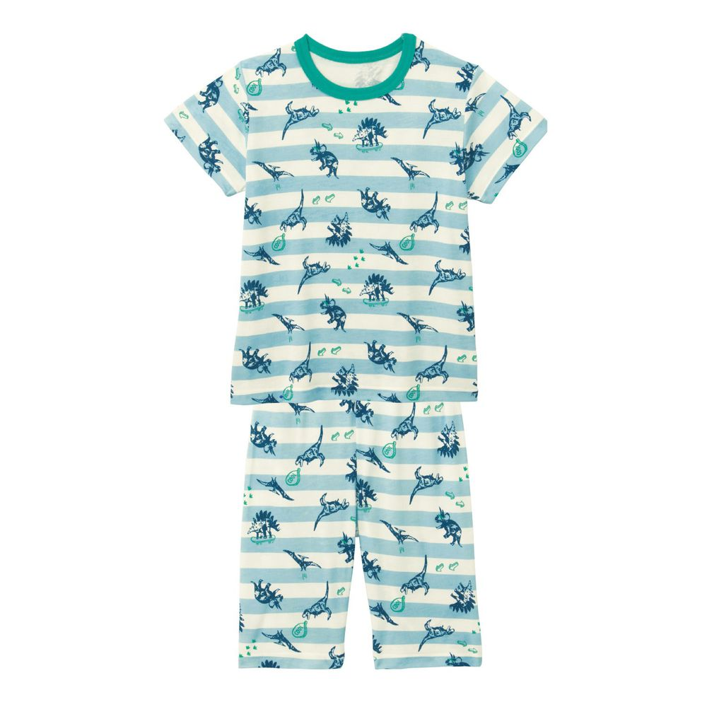 日本千趣會 - GITA 接觸涼感舒適短袖家居服-侏羅紀恐龍-水藍條紋