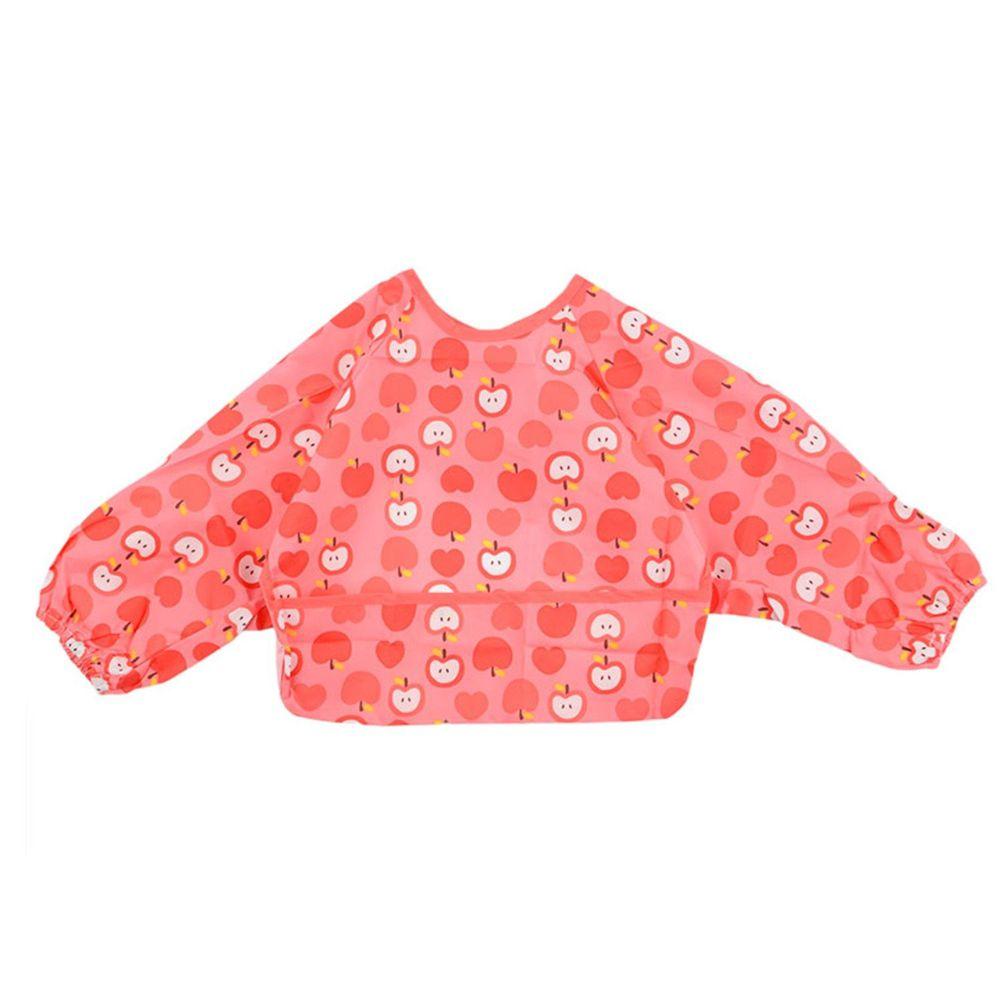 akachan honpo - 嬰幼兒潑水加工長袖圍兜P-粉紅色