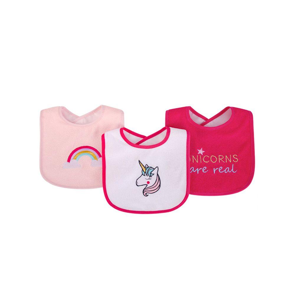 美國 Luvable Friends - 嬰幼兒雙層吸水口水巾圍兜3入組-獨角獸