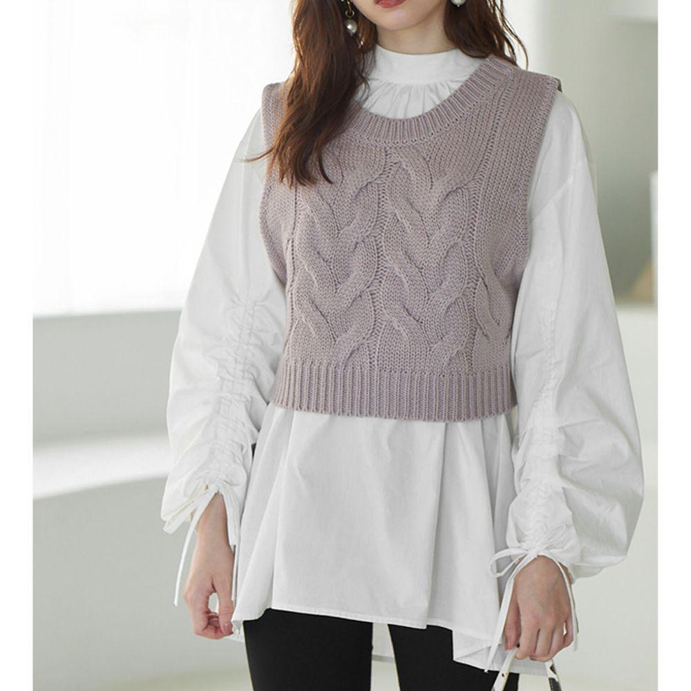 日本 GRL - 抽繩袖設計長袖上衣+針織背心兩件組-杏白