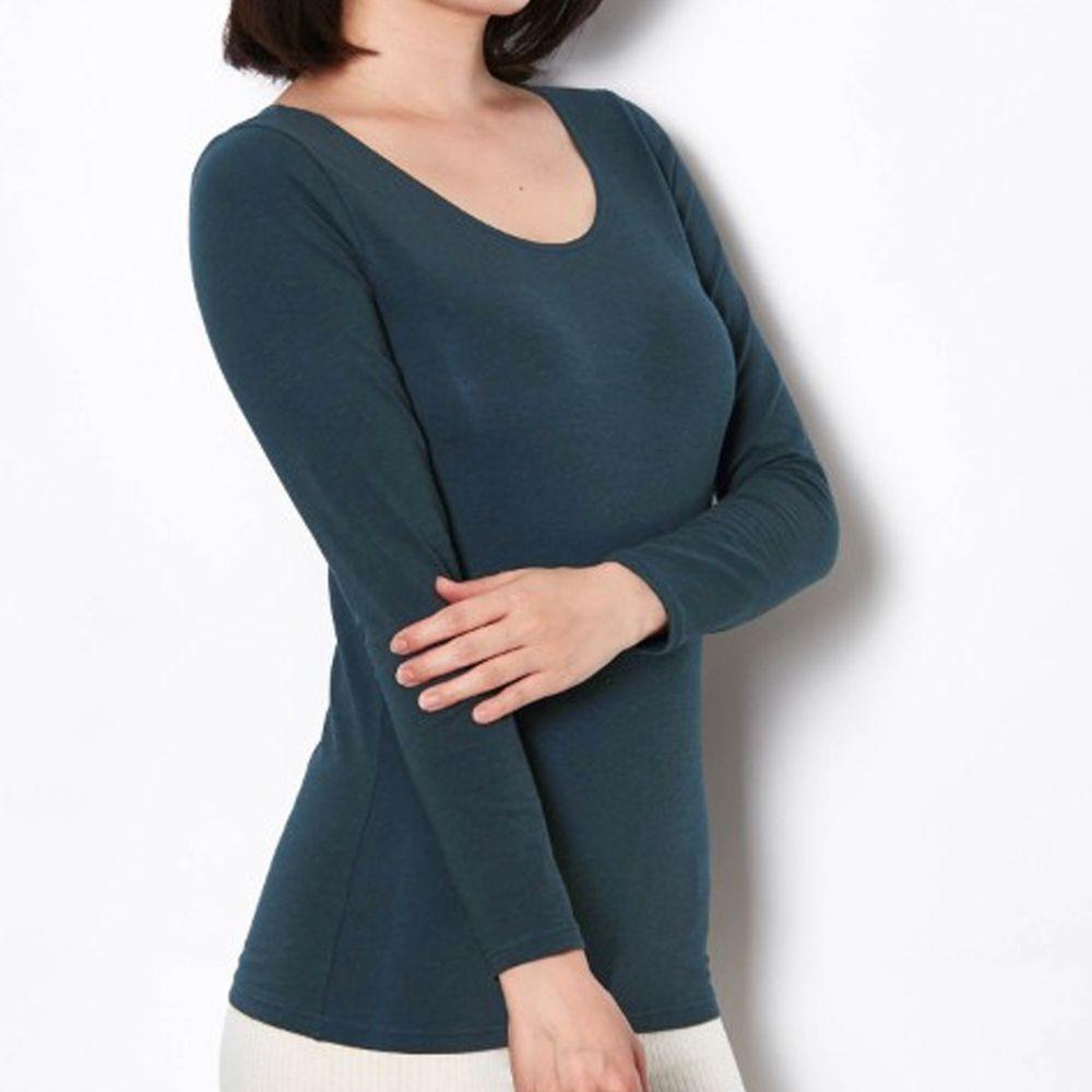 日本千趣會 - 95%棉 (媽媽)圓領十分袖發熱衣-深藍
