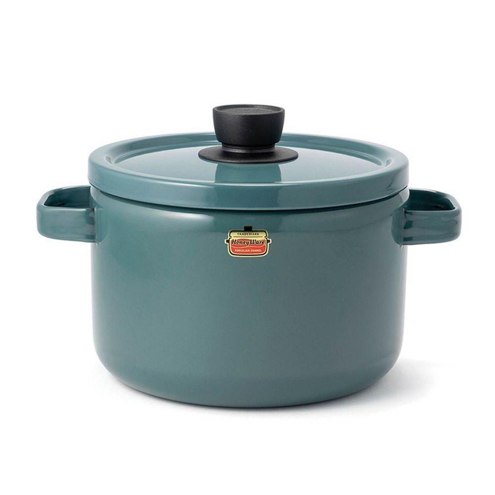 FUJIHORO 富士琺瑯 - Solid 經典系列-22cm雙耳附蓋琺瑯深鍋-煙霧藍-容量:5.6L 重量:1.95kg