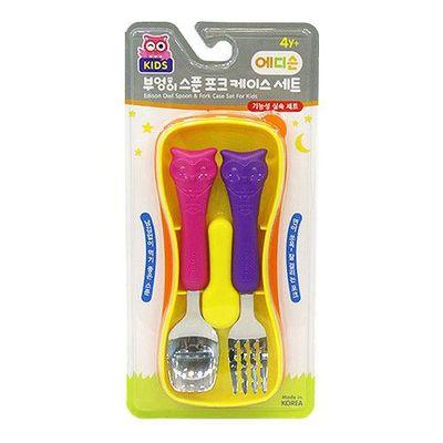 學習湯匙+叉子組-貓頭鷹-粉紫-附收納盒