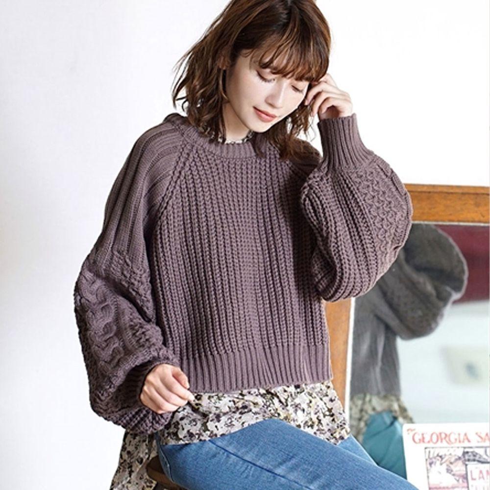 日本 zootie - 交錯拼接設計後綁帶針織毛衣-灰紫