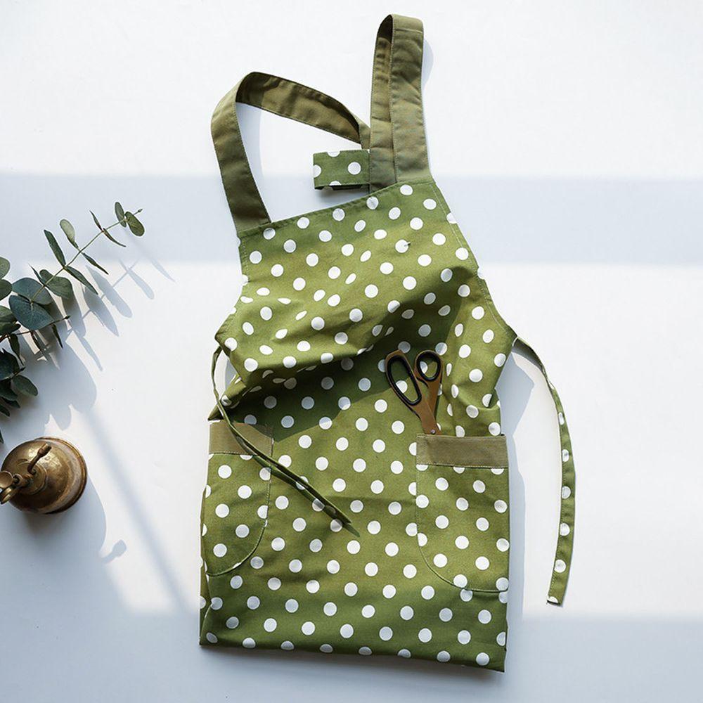 日系清新風圍裙-點點-豆沙綠