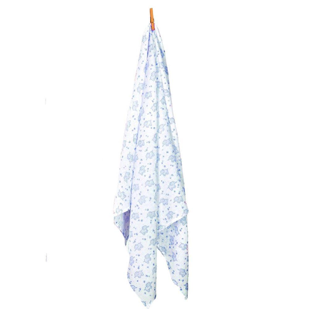 英國 JoJo Maman BeBe - 100%純棉多功能包巾/小薄被/拍嗝巾(120*120cm)-藍色