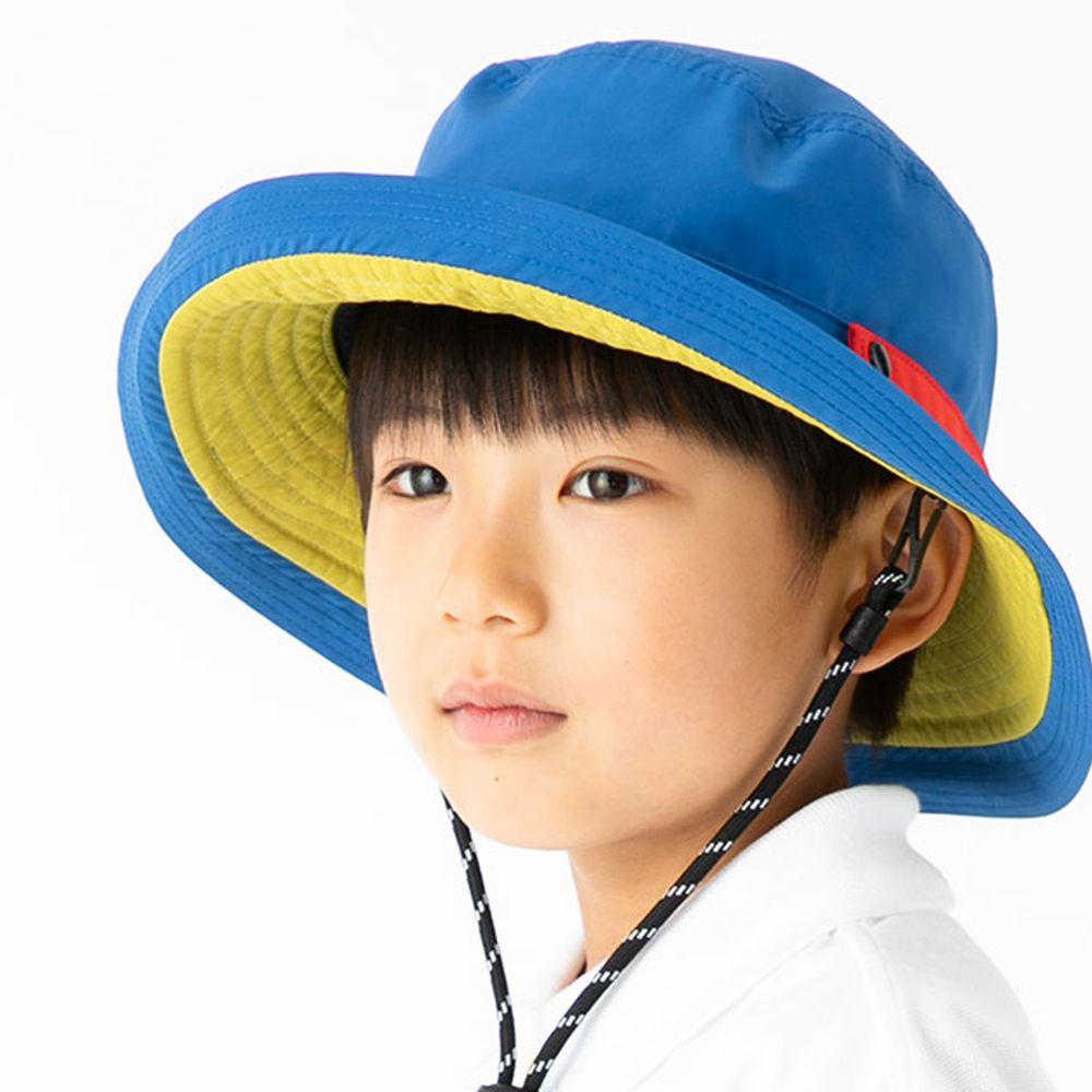 日本服飾代購 - 【irodori】抗UV可捲收防潑水遮陽帽(附防風帽帶)-兒童款-藍X芥末內裏 (54cm)