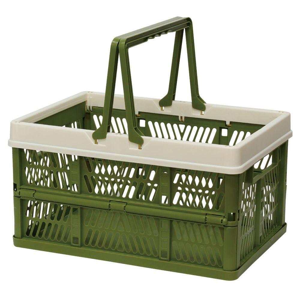 日本丸和 - 輕巧摺疊收納箱/手提籃-墨綠 (L(34L,44x31x25cm)耐重8kg)