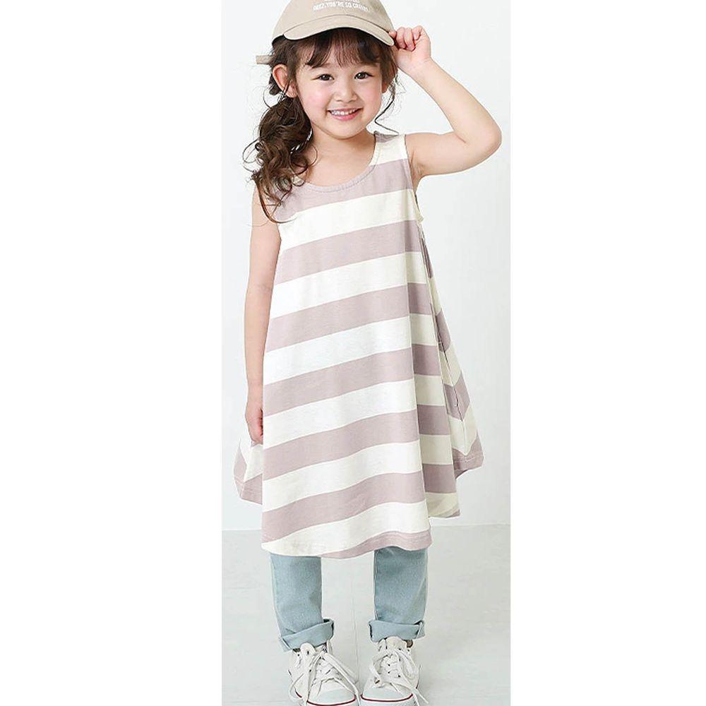 日本 devirock - 純棉傘狀條紋無袖洋裝/親子裝-淺灰紫