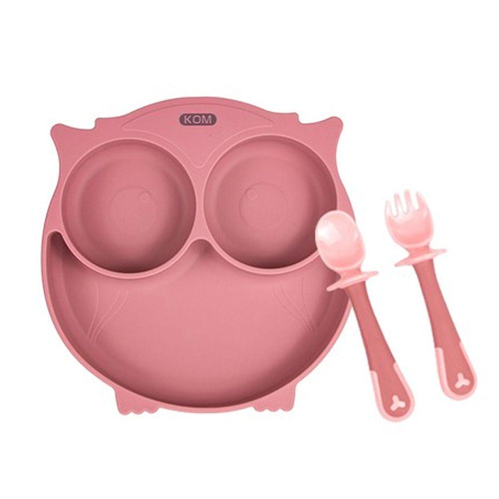 KOM - 矽膠兒童防滑餐盤+學握匙(一入組)-貓頭鷹(無蓋)-粉